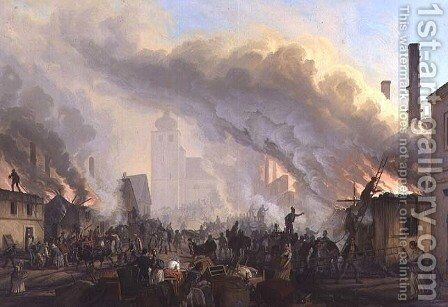 Conflagration at Teplice by Carl Robert Croll - Reproduction Oil Painting