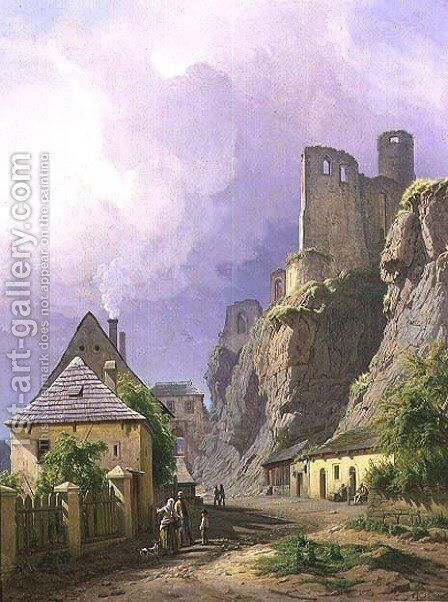 View of the Castle of Strekov with Cottages and Figures, 1845 by Carl Robert Croll - Reproduction Oil Painting