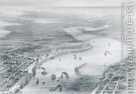 Bird's-Eye View of New Orleans, from The History of the United States, Vol. II, by Charles Mackay, engraved by W. Ridgeway, c.1830 by (after) Wells, J. - Reproduction Oil Painting