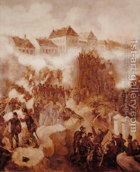 The Recapture of the Buda Fortress by the Hungarian Insurgents on 21st May 1849 by C. Wemik - Reproduction Oil Painting