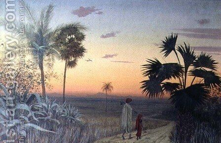 Sunset over Palm Trees, 1897 by Constance Wenlock - Reproduction Oil Painting