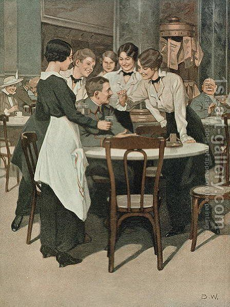 On Leave, illustration from a German magazine, Simplicissimus, c.1915 by B. Wennerberg - Reproduction Oil Painting