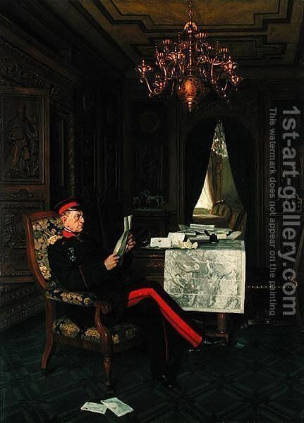 Moltke in Versailles, 1872 by Anton Alexander von Werner - Reproduction Oil Painting