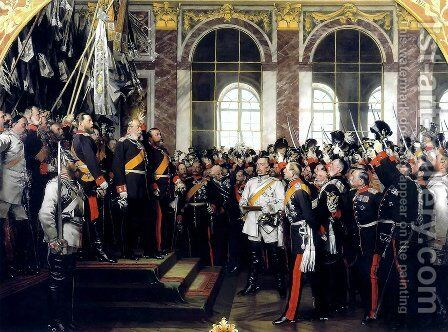 The Proclamation of Wilhelm as Kaiser of the new German Reich, in the Hall of Mirrors at Versailles on 18th January 1871, painted 1885 2 by Anton Alexander von Werner - Reproduction Oil Painting