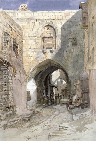 Davids Strasse, Jerusalem, 1862 by Carl Friedrich H. Werner - Reproduction Oil Painting