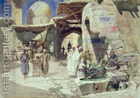 An Arab Street Scene by Carl Friedrich H. Werner - Reproduction Oil Painting