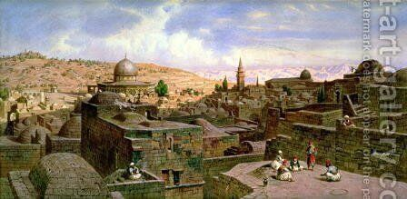 A View of Jerusalem, with the Dome of the Holy Rock by Carl Friedrich H. Werner - Reproduction Oil Painting