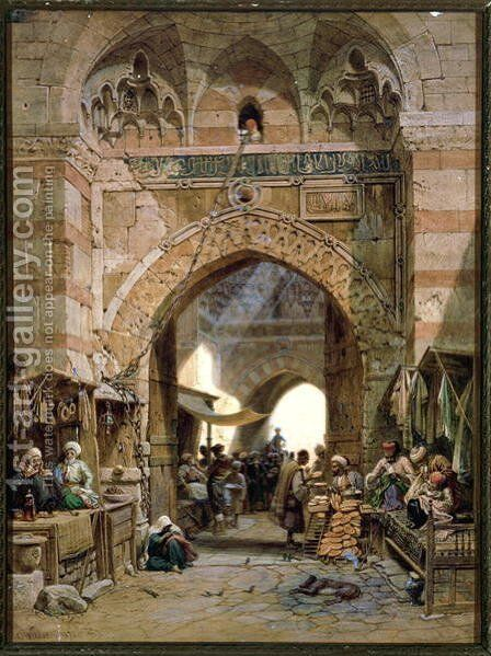 Bazaar Scene, 1875 by Carl Friedrich H. Werner - Reproduction Oil Painting