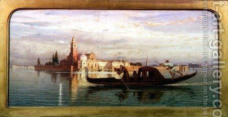 On the Venetian Lagoon by Carl Friedrich H. Werner - Reproduction Oil Painting