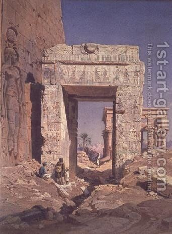 Doorway from Temple of Isis to temple called Bed of the Pharaohs, Island of Philaea, Egypt by Carl Friedrich H. Werner - Reproduction Oil Painting