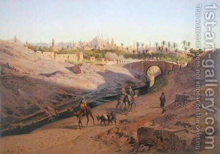A view of Cairo from the north with the White Mosque, one of 24 illustrations produced by G.W. Seitz, printed c.1873 by Carl Friedrich H. Werner - Reproduction Oil Painting