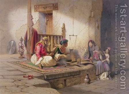 A weaver in Esna, one of 24 illustrations produced by G.W. Seitz, printed c.1873 by Carl Friedrich H. Werner - Reproduction Oil Painting