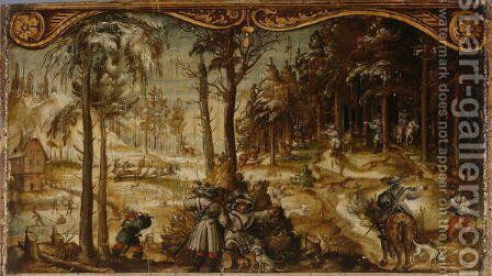 Fox and Stag Hunt in the Winter, c. 1525-26 by Hans Wertinger - Reproduction Oil Painting