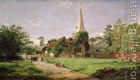 Stoke Poges Church by Jasper Francis Cropsey - Reproduction Oil Painting