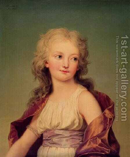 Portrait of Marie-Therese Charlotte of France (1778-1851) Duchess of Angouleme, 1786 by Adolph Ulrich Wertmuller - Reproduction Oil Painting