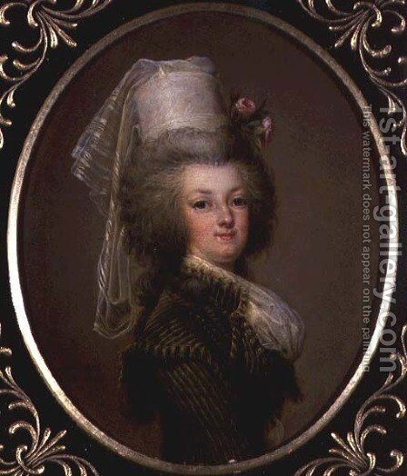 Archduchess Marie Antoinette Habsburg-Lothringen (1755-93), fifteenth child of Empress Maria Theresa of Austria (1717-80) and Francis I (1708-65), wife of Louis XVI (1754-93) by Adolph Ulrich Wertmuller - Reproduction Oil Painting