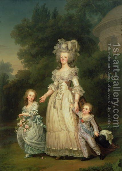 Queen Marie Antoinette (1755-93) with her Children in the Park of Trianon, 1785 by Adolph Ulrich Wertmuller - Reproduction Oil Painting