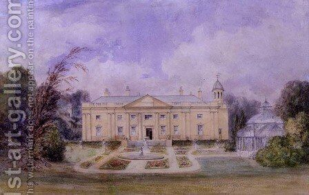 A Classical Country House with Formal Garden and Conservatory, 1857 by Edward West - Reproduction Oil Painting