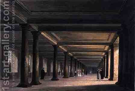 Colonnade under Trinity College Library, Cambridge, from 'The History of Cambridge', engraved by Joseph Constantine Stadler (1780-1812), pub. by R. Ackermann, 1815 by William Westall - Reproduction Oil Painting