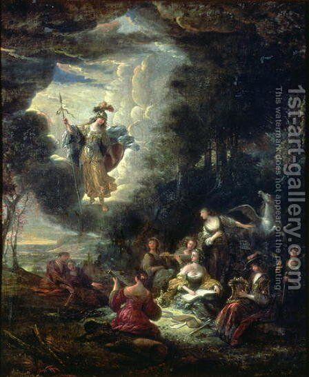 Athena visiting the Muses by Jacob Willemsz de Wet the Elder - Reproduction Oil Painting