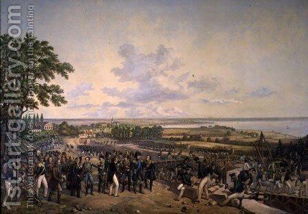 King Carl XIV Johan (1763-1844) of Sweden Visiting the Canal Locks at Berg in 1819, 1856 by Alexander Wetterling - Reproduction Oil Painting