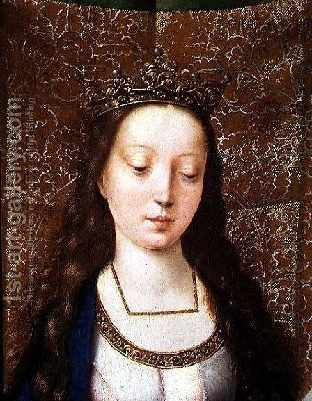 St. Catherine and the Philosophers, detail of the head of St. Catherine (detail) by Goossen van der Weyden - Reproduction Oil Painting