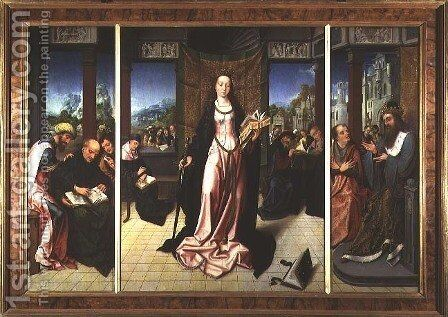 St. Catherine and the Philosophers by Goossen van der Weyden - Reproduction Oil Painting