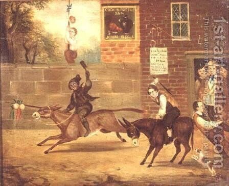 A Donkey Race outside the Cock and Bottle Inn by B. White - Reproduction Oil Painting