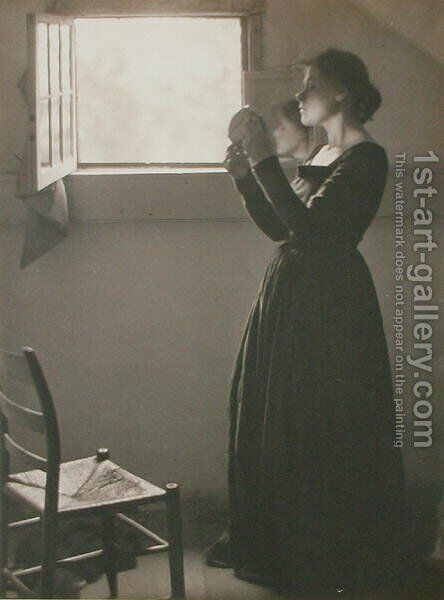 Girl with a Mirror, 1898 by Clarence Henry White - Reproduction Oil Painting