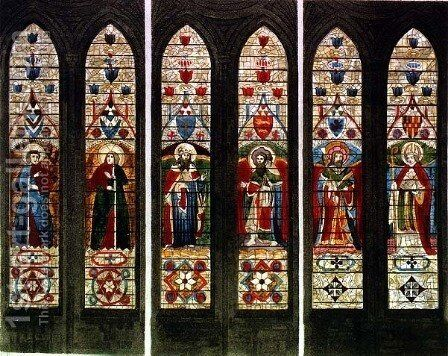 East Windows, plate E from 'Westminster Abbey', engraved by Frederick Christian Lewis (1779-1856) pub. by Rudolph Ackermann (1764-1834) 1812 by (after) White, William Johnstone - Reproduction Oil Painting