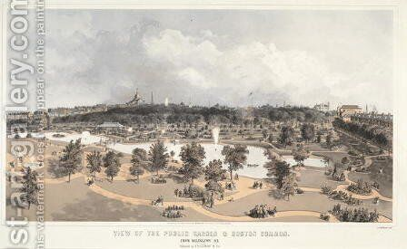 View of the Public Garden and Boston Common from Arlington Street, engraved by J.H. Bufford, 1866 by (after) Whitefield, Edwin - Reproduction Oil Painting