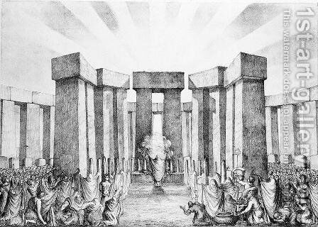 Druids Sacrificing to the Sun in their Temple called Stonehenge, from a plan of Stonehenge by Dr Stukeley in the Ashmolean Museum, Oxford, engraved and pub. by the artist by Nathaniel Whittock - Reproduction Oil Painting