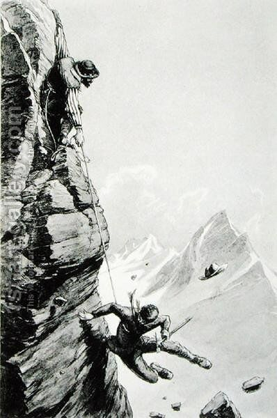 The Accident on Sefton, from Scrambles Amongst the Alps by Edward Whymper, published 1871 by Edward Whymper - Reproduction Oil Painting