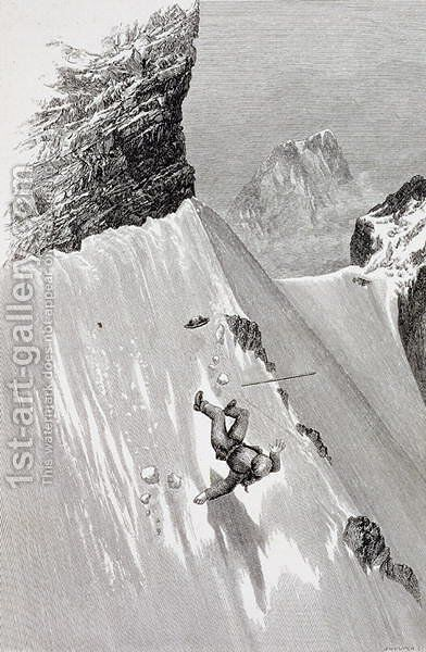 In Attempting to Pass the Corner I Slipped and Fell from The Ascent of the Matterhorn by Edward Whymper, published 1860s-80s by Edward Whymper - Reproduction Oil Painting