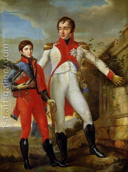 Louis Bonaparte (1778-1846) King of Holland and Louis Napoleon (1804-31) Crown Prince of Holland, c.1806 by Jean Baptiste Joseph Wicar - Reproduction Oil Painting