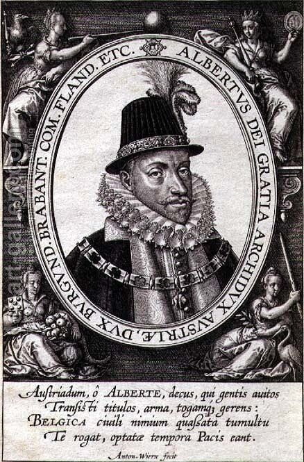 Portrait of Albert, Archduke of Austria (1559-1621) (engraving) by Antonie Wierix - Reproduction Oil Painting