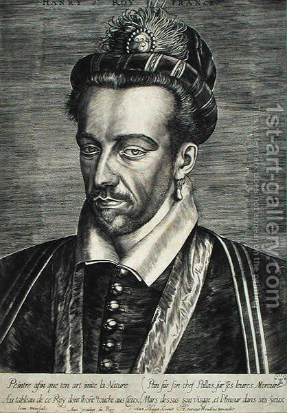 Henri III Valois (1551-89) by Johan Wierix - Reproduction Oil Painting