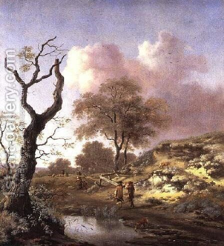 A Hilly Landscape, early 1660s by Jan Wijnants - Reproduction Oil Painting