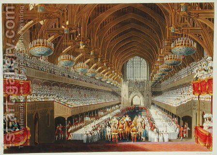 The Royal Banquet, First Course, from an album celebrating the Coronation of King George IV (1762-1830) 19th July 1821, engraved by William James Bennett (1787-1844) published 1824 by Charles Wild - Reproduction Oil Painting