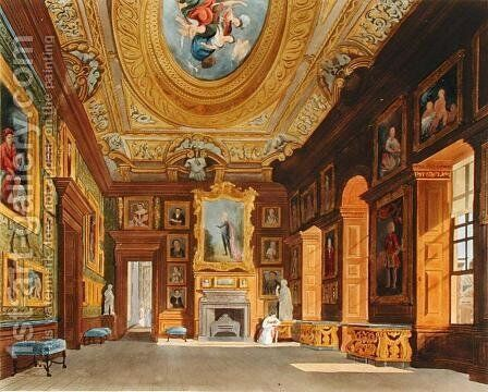 Queen Caroline's Drawing Room, Kensington Palace, from 'The History of the the Royal Residences', engraved by Thomas Sutherland (b.1785), by William Henry Pyne (1769-1843), 1819 by Charles Wild - Reproduction Oil Painting