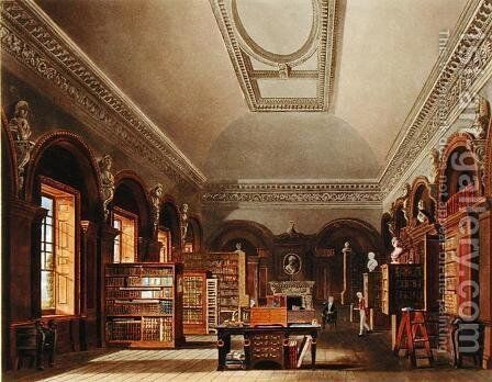 The Queen's Library, St. James's Palace, from 'The History of the Royal Residences', engraved by Richard Reeve (b.1780), by William Henry Pyne (1769-1843), 1819 by Charles Wild - Reproduction Oil Painting
