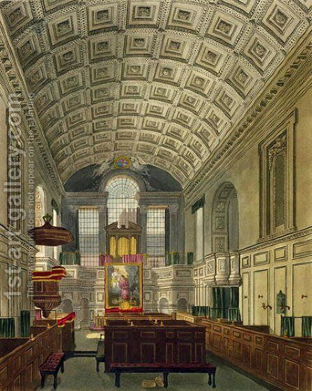 The German Chapel, St. James's Palace, from 'The History of the Royal Residences', engraved by Daniel Havell (1785-1826), by William Henry Pyne (1769-1843), 181 by Charles Wild - Reproduction Oil Painting