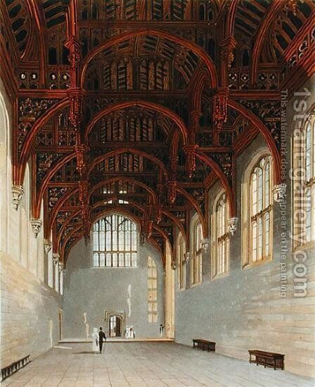 The Gothic Hall, Hampton Court, from 'The History of the Royal Residences', engraved by William James Bennett (1769-1844), by William Henry Pyne (1779-1843), 1819 by Charles Wild - Reproduction Oil Painting