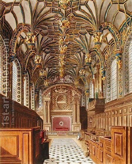 The Chapel, Hampton Court, from 'The History of the Royal Residences', engraved by Richard Reeve (b.1780), by William Henry Pyne (1769-1843), 1819 by Charles Wild - Reproduction Oil Painting