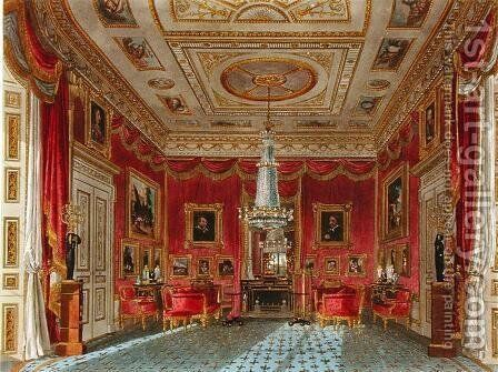 The Rose Satin Drawing Room, Carlton House, from The History of the Royal Residences, engraved by Daniel Havell (1785-1826), by William Henry Pyne (1769-1843), 1819 by Charles Wild - Reproduction Oil Painting