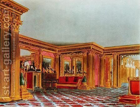 The Golden Drawing Room, Carlton House, from The History of the Royal Residences, engraved by Thomas Sutherland (b.1785), by William Henry Pyne (1769-1843), 1819 by Charles Wild - Reproduction Oil Painting