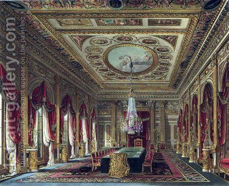 The Throne Room, Carlton House, from 'The History of the Royal Residences', engraved by Thomas Sutherland (b.1785), by William Henry Pyne (1769-1843), 1818 by Charles Wild - Reproduction Oil Painting