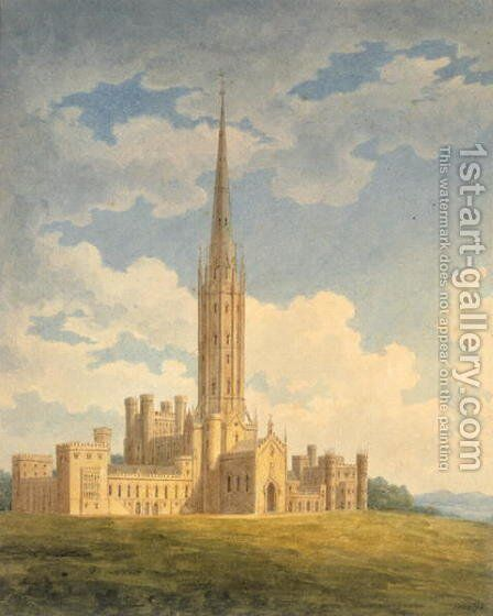 North-west view of Fonthill Abbey by Charles Wild - Reproduction Oil Painting