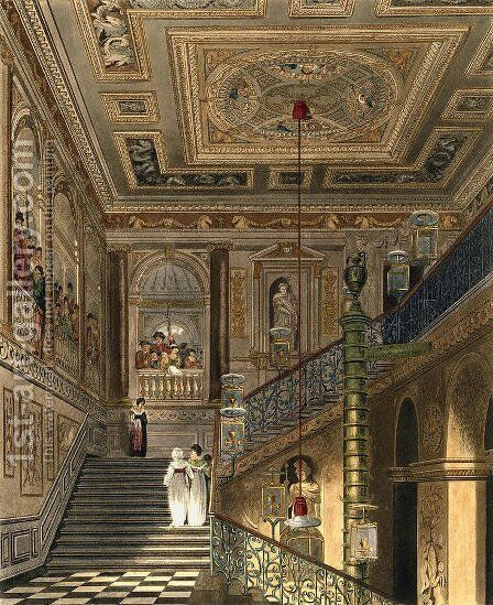 The Great Staircase at Kensington Palace From Pynes Royal Residences, engraved by Richard Reeve (b.1780) published in 1819 by Charles Wild - Reproduction Oil Painting