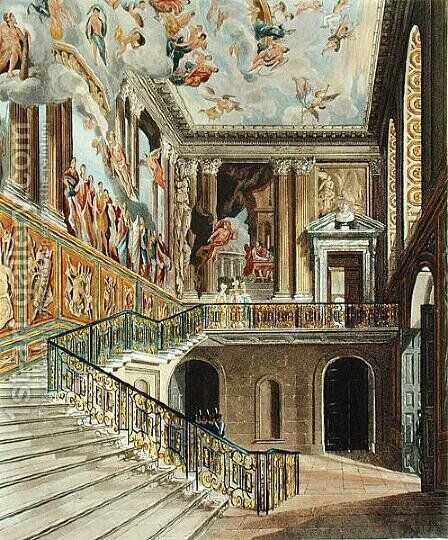 The Great Staircase at Hampton Court Palace from Pyne's 'Royal Residences' engraved by Richard Reeve (b.1780) published in 1819 by Charles Wild - Reproduction Oil Painting